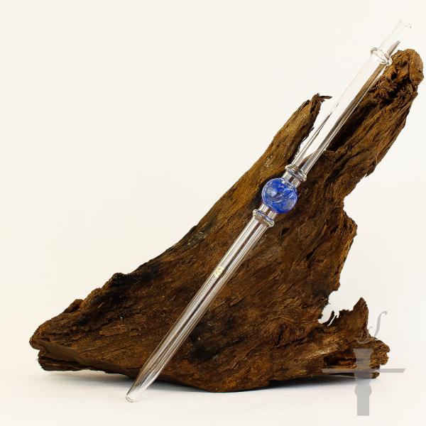 Mata Leon Glas Mundstück Lollipop Blau-Transparent